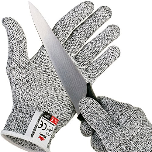 NoCry Cut Resistant Gloves with Grip Dots - High Performance Level 5 Protection, Food Grade. Size Extra Large, Free Ebook Included! (Wood Dot)