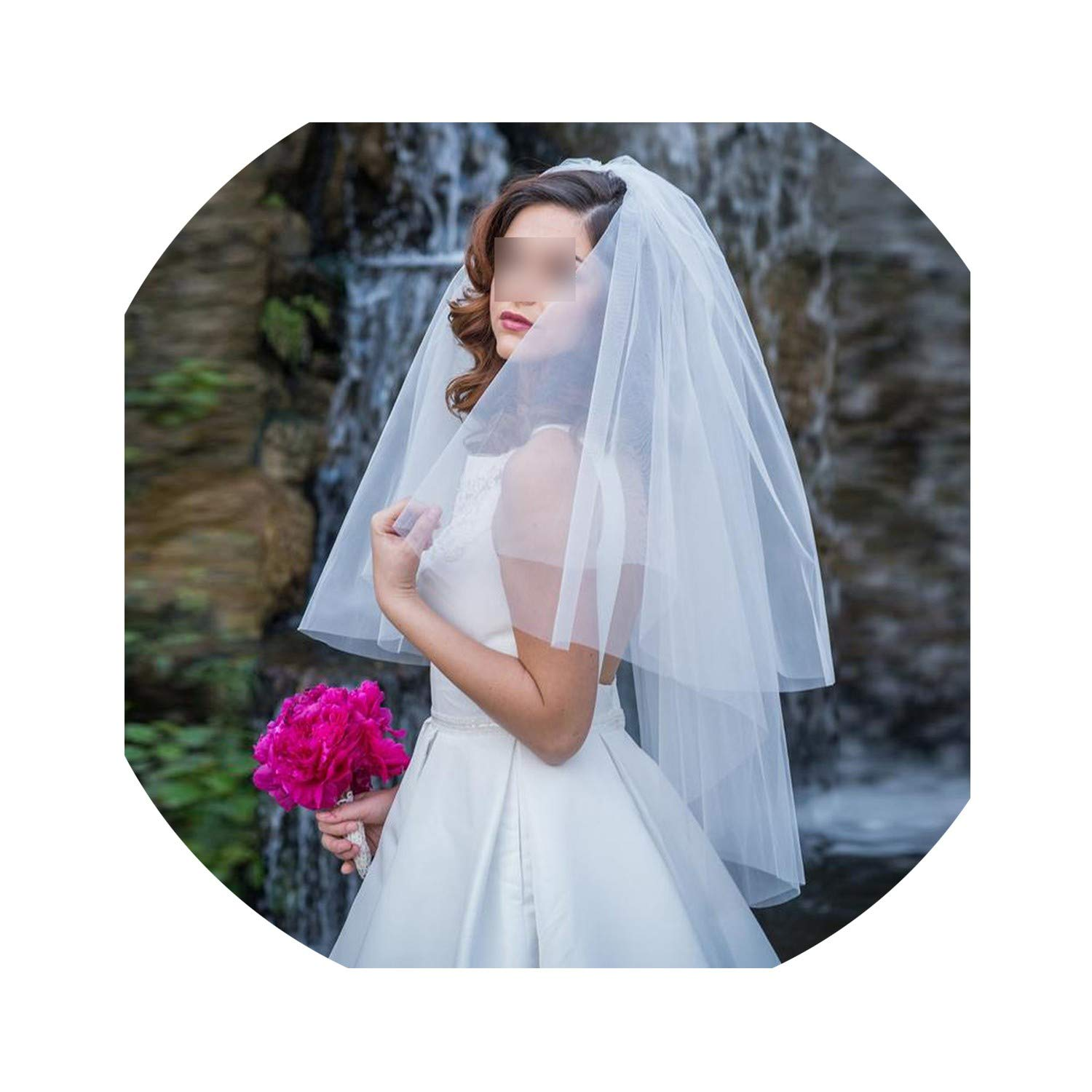 Cut Edge Two Tier White//Ivory Puffy Tulle Bridal Veil Fingertip Length Tulle Wedding Veil with Metal Comb
