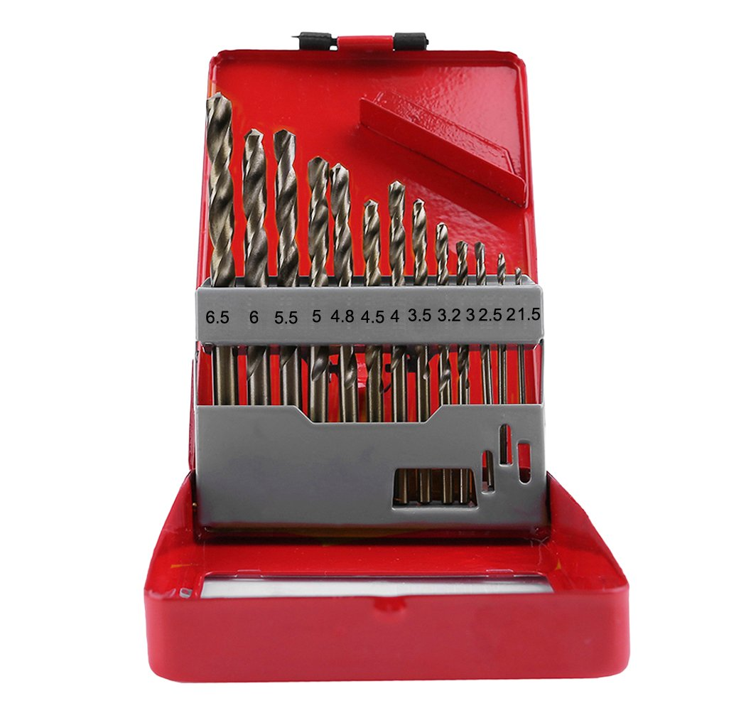 Migiwata 13 Piece Metric Cobalt M35 Metal Index Drill Bit Set with Straight Shank Ideal for Drilling Cast Iron, Heat-treated steel, Stainless Steel and Other Hard Materials