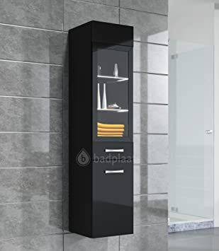 Badschrank hängend hochglanz  Badezimmer Schrank Rio 131 cm Hochglanz Schwarz Fronten – Regal ...