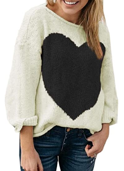 31350559a0691 security Women Crewneck Long Sleeve Heart Patterned Knit Pullover Sweaters  1 L  Amazon.in  Clothing   Accessories