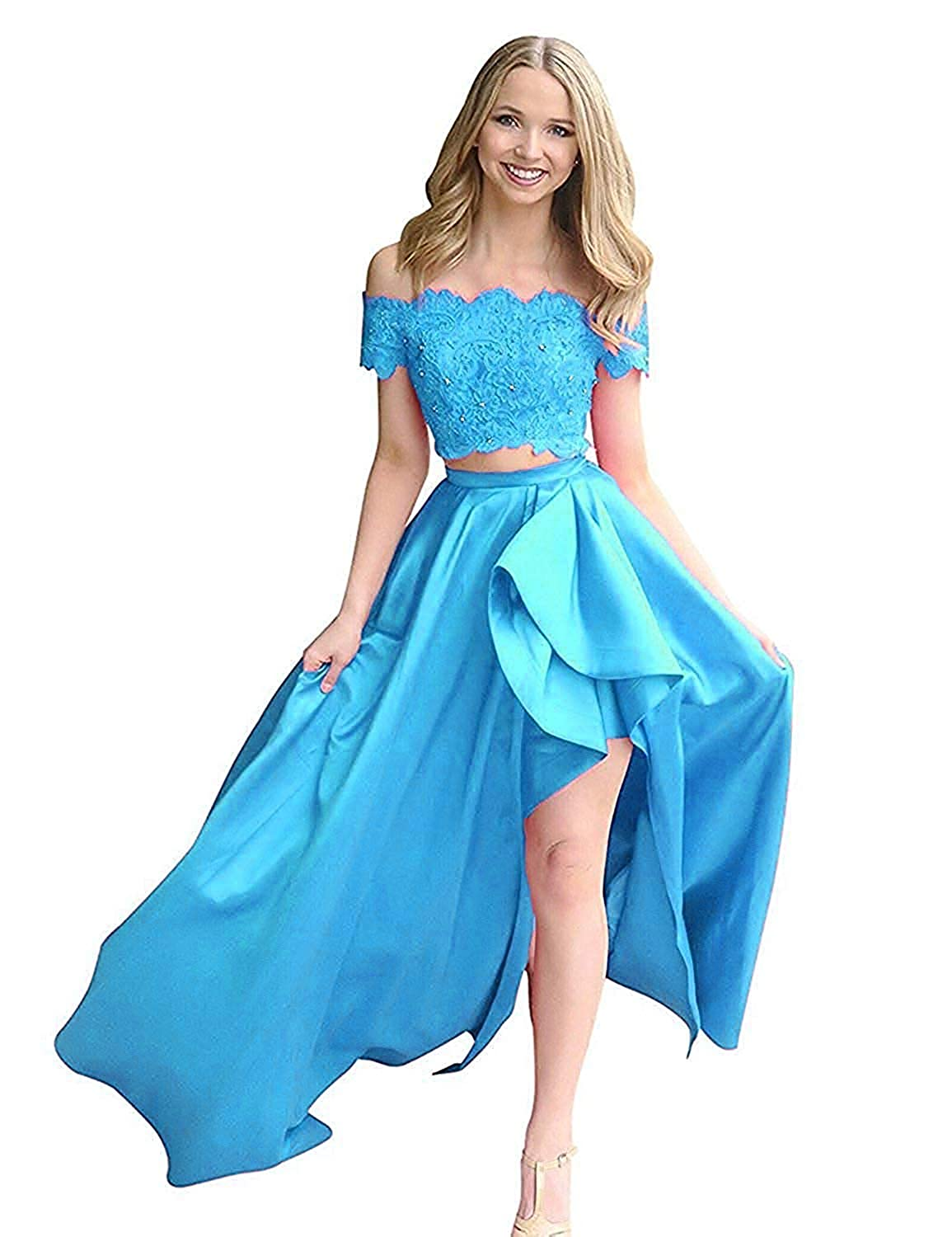 bluee ModeC Prom Dresses Evening Gowns Long HiLo Two Pieces Prom Party Gown with Pockets Off Shoulder