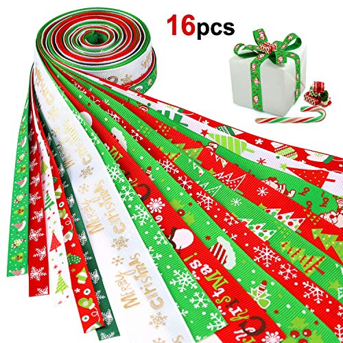 Konsait 16Pack Christmas Ribbons Trims Grosgrain Ribbons Decorative Ribbons Christmas Festive Themed Ribbons for DIY Craft, Xmas Decor Winter Holiday Festival Season Wrapping