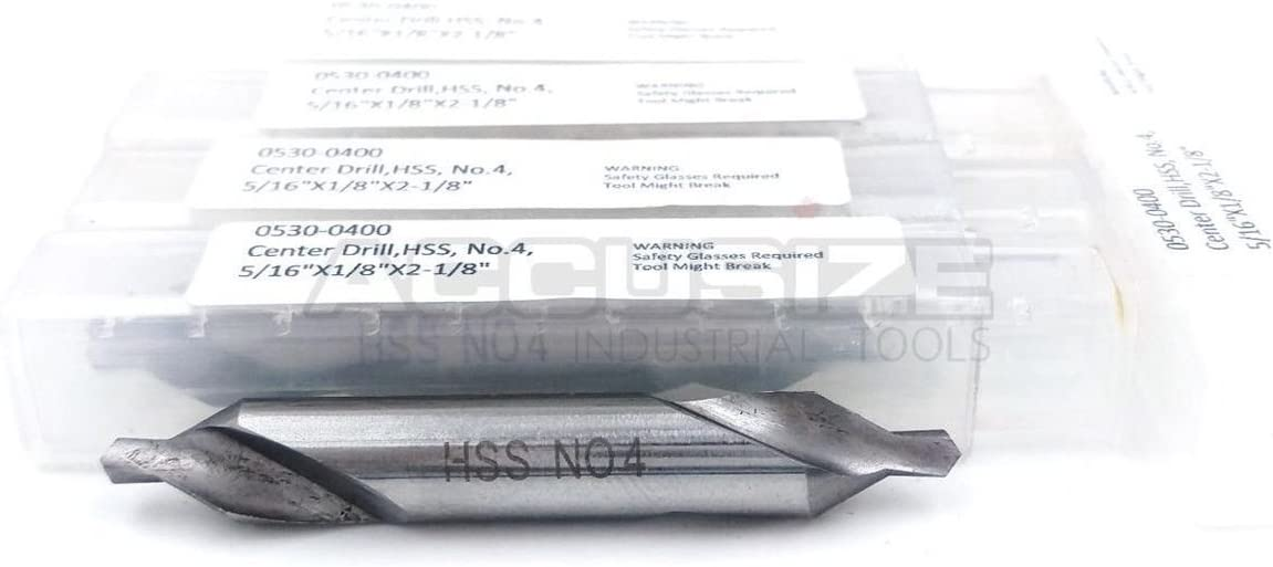 0530-0000x10 60 Deg Accusize Industrial Tools 10 Pcs No.0 1//8 by 1//32 by 1-1//4 Hss Center Drill Bits