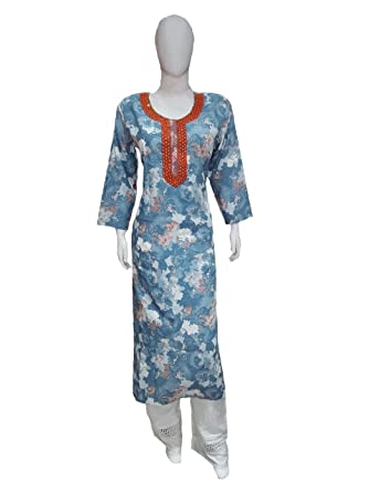 KAZUMI RAYON blue round straight hand-work KURTI FOR WOMEN cotton