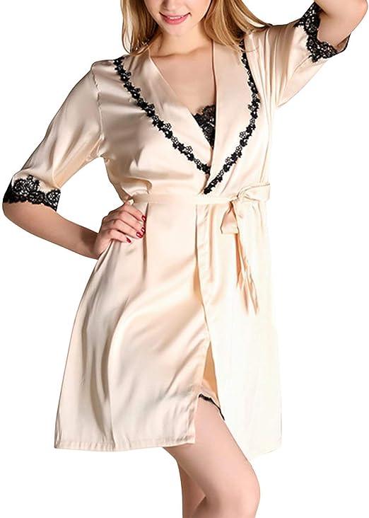 Vestido De Noche De Verano para Mujer De Casuales Mujeres Camisa Dormir Satén Camisa De Dormir Vestir Kimono Albornoz Chemise De Dos Piezas: Amazon.es: Ropa y accesorios