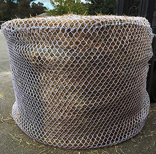 Tech Equestrian KNOTLESS Heavy Duty 5mm Thick Round Bale Slow Feed Hay Net 6x6 (Hole_Size_1.5 inches)