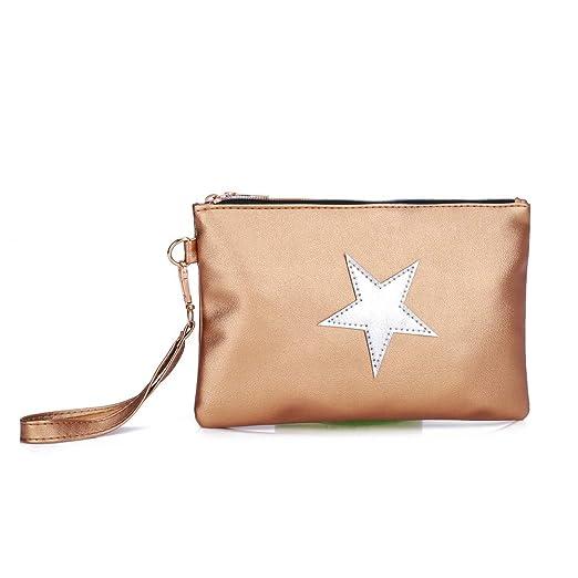 ALIKEEY Las Mujeres Moda Cuero Modelo Estrella Cremallera Bolsa Embrague Bolsa Bolso La Moneda del Maquillaje: Amazon.es: Equipaje