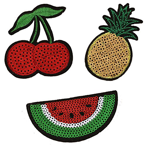 3 PCS Red Cherry Watermelon Pineapple Fruit Patch Sequin Sew Iron On Embroidered Patches Appliques Repair and Decorate Clothing, Bags, by Wonderfullife. (3pcs Fruit Patch) ()