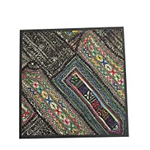 Bohemian Indian Pillow Sham Colorful Embroidered Wall Tapestry (18x18inch)