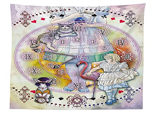 vipsung Alice in Wonderland Decor Tablecloth Magical Fantasy World of Adventure Clock Flamingo Cheshire Cat Rabbit Dining Room Kitchen Rectangular Table Cover Multi