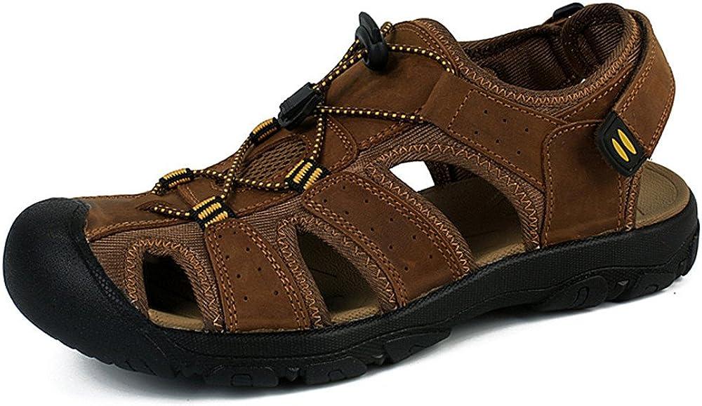 Sandales Homme Cuir Marche Randonn/ée Ferm/ées /Ét/é Ext/érieur Chaussures de Sport Plage Marron Vert 38-48
