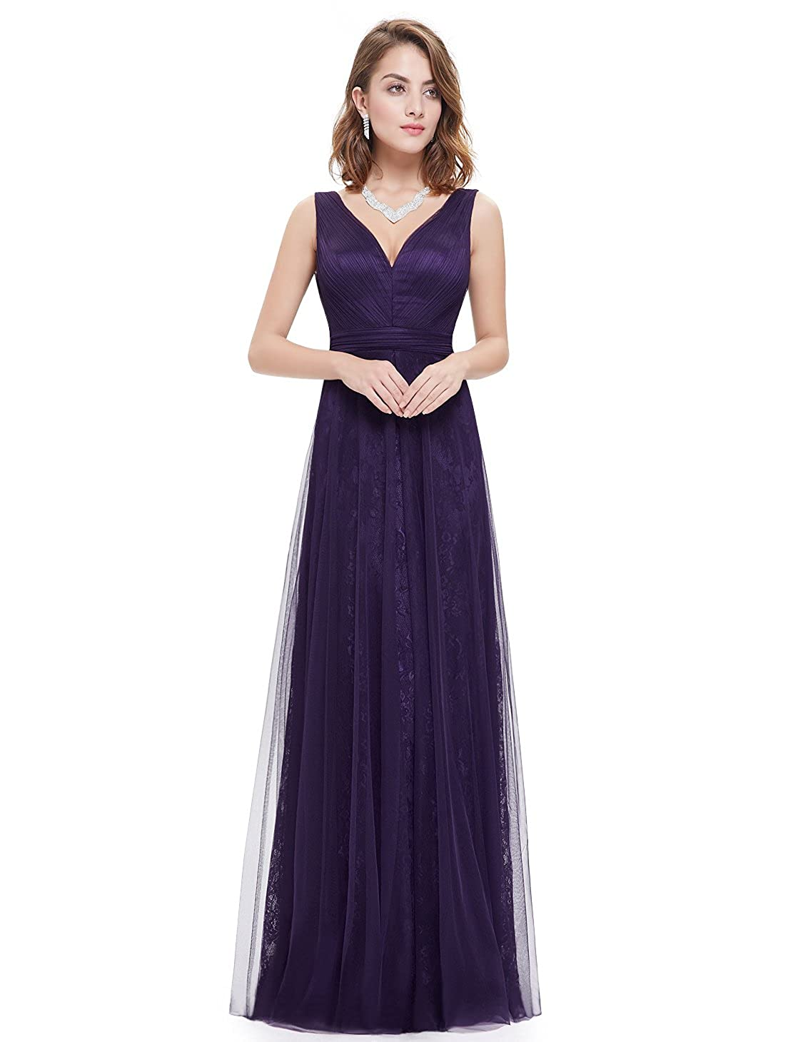 Ever-Pretty Womens Double V Neck Ruched Bust Long Evening Dress