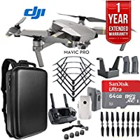 DJI Mavic Pro Platinum Quadcopter Drone Dual Battery 64GB Bundle with 1 Year Extended Warranty