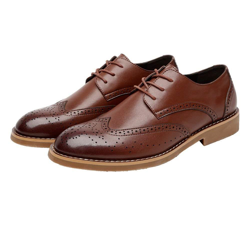 FuweiEncore 2018 Männer Klassische Business Schuhe Matte Atmungsaktiv Hohl Carving Echtes Leder Lace up Ausgekleidet Oxfords (Wildleder Optional) (Farbe   Suede BRN, Größe   42 EU)
