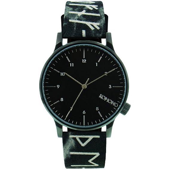 De Kom w2160 Komono Winston runa de múltiples caja de acero inoxidable Unisex negro de cuero reloj de pulsera: Amazon.es: Relojes