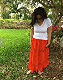 Mexican orange maxi long skirt