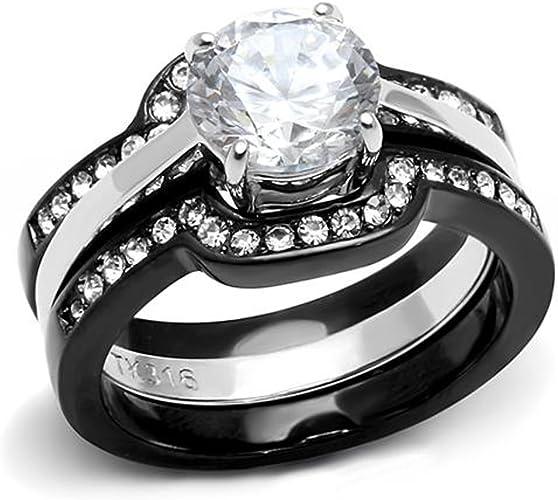STAINLESS STEEL 2.15CT HALO ROUND ZIRCONIA BLACK WEDDING RING SET WOMENS SZ 5-11