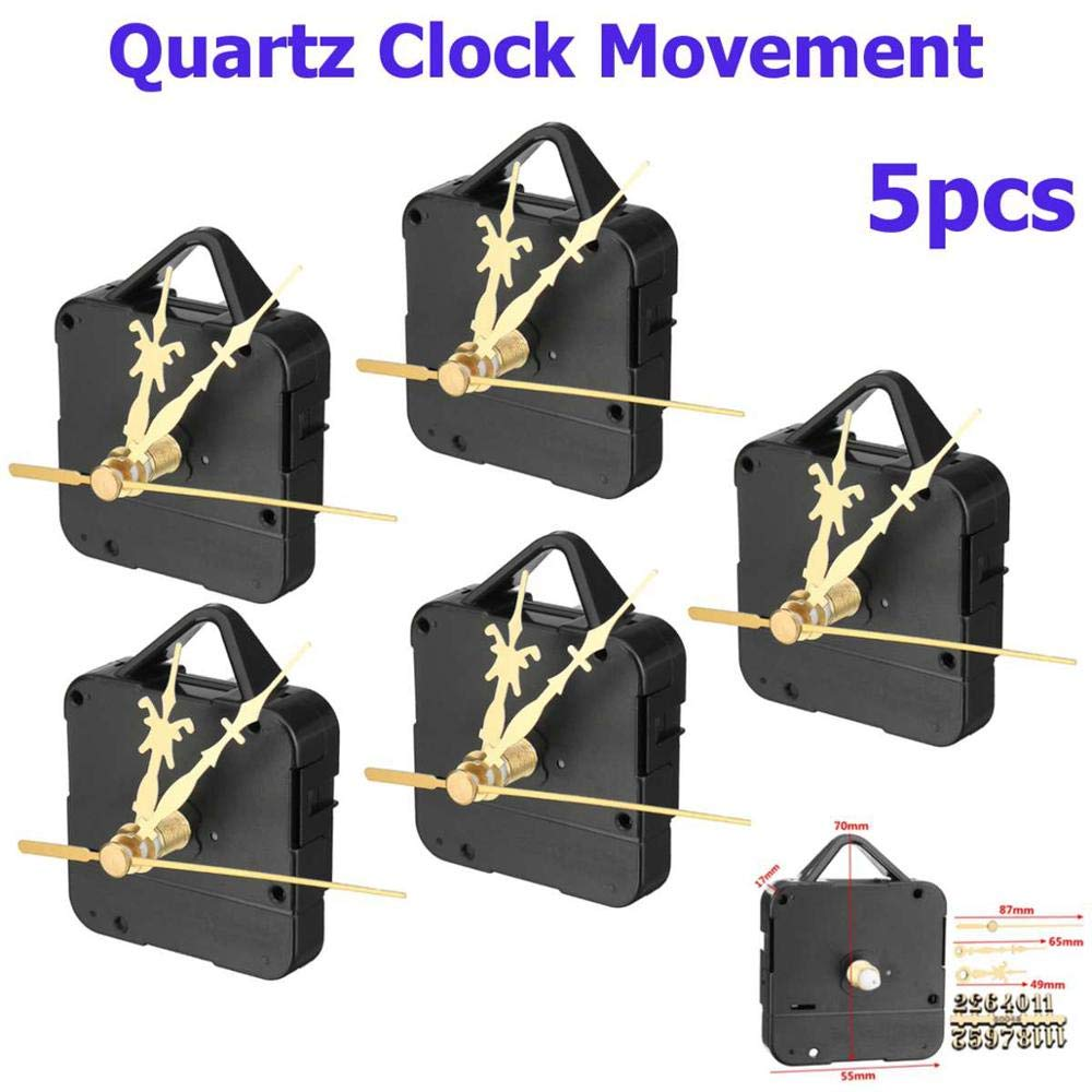 Silent Quartz Clock Movement Replace Repair Parts Kit with Gold Digital Card Hour Minute Second Hand DIY