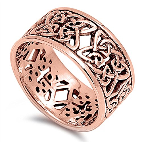 Rose Gold-Tone Celtic Trinity Knot Ring New .925 Sterling Silver Band Size - Celtic Tone Cross Gold