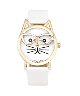 COOKI Womens Quartz Watch Cat Analog Female Watches Lady Watches Leather Watch-H82 (White)