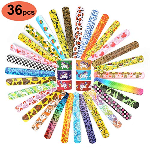 IRuiYinGo Slap Bracelets for Girls - 36 Pack Slap Bands Party Favors with Colorful Hearts Emoji Birthday Classroom Gifts for Kids Boys Adults (36 Design). ()
