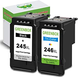 GREENBOX Remanufactured Ink Cartridges 245 and 246 Replacement for Canon PG-245XL CL-246XL PG-243 CL-244 for Canon PIXMA MX492 MX490 MG2920 MG2922 MG2420 MG2520 IP2820 (1 Black 1 Tri-Color)