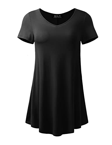 BILY Women's Plus Sizes Available Short Sleeve Flare Tunic For Leggings Made in USA