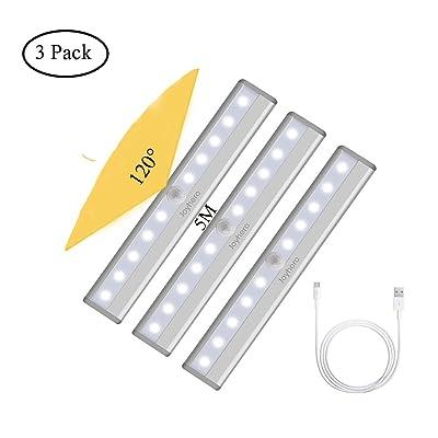 3 Pack Lampe de Placard Led Rechargeable par Usb 10 LED Detecteur de Mouvement Lampe d'armoire sans Fil avec Bande Magnétique Facile à Installer Eclairer La Cuisine Escalier Garage (Lumière Blanche)
