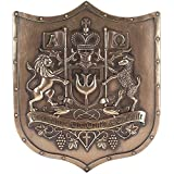 The Way Truth Life Lion Lamb Bronzetone Shield 12 x 14 Inch Decorative Hanging Wall Plaque