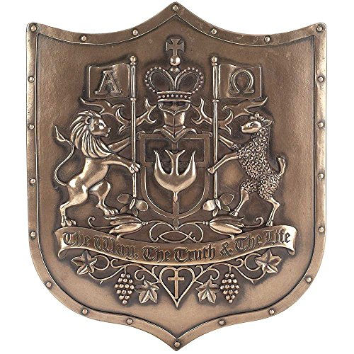 Dicksons The Way Truth Life Lion Lamb Bronzetone Shield 12 x 14 Inch Decorative Hanging Wall Plaque - Family Crest Gifts