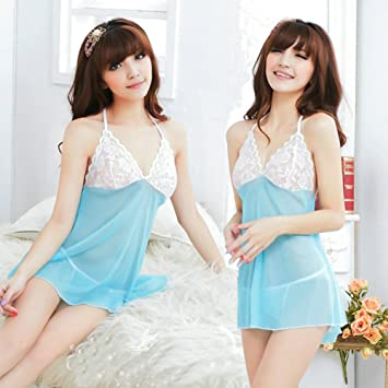 Ocely Women s Blue Gauze Transparent Alluring Sexy Lingerie Sleepwear  Babydoll Croset Nightdress One Size fddb86a86