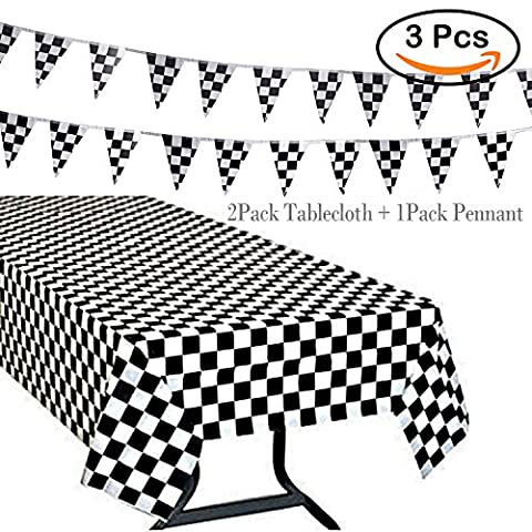 R • HORSE 3Pack Plastic Banquet Disposable Black & White Checkered Tablecover Party Favor, 2 Checkered Racing Tablecloth + 1 Checkered Racing - Cloth Flag