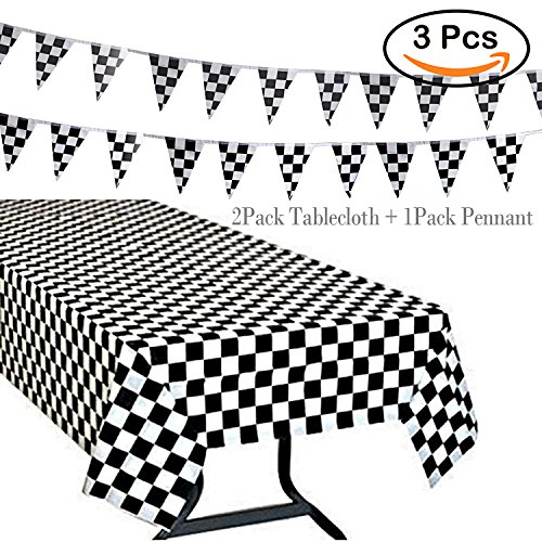 R • HORSE 3Pack Plastic Banquet Disposable Black & White Checkered Tablecover Party Favor, 2 Checkered Racing Tablecloth + 1 Checkered Racing Flag (Black & White Checkered Tablecloth)
