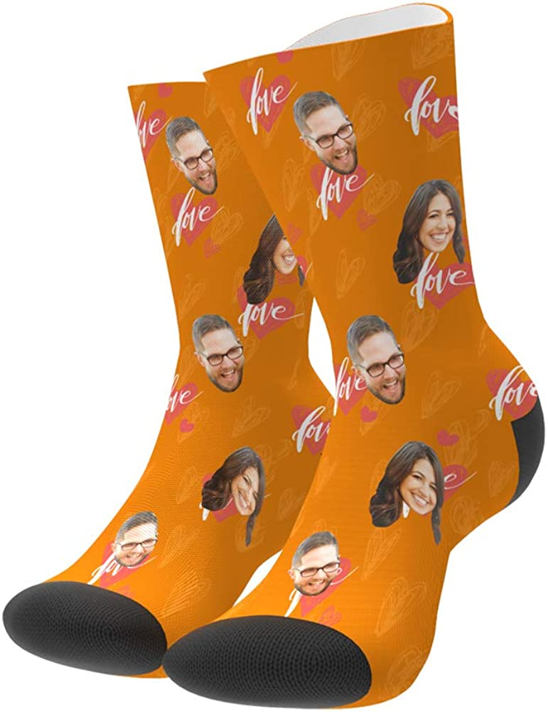 Custom Face Socks Personalized Photo on Heart Socks Photo Gifts for love