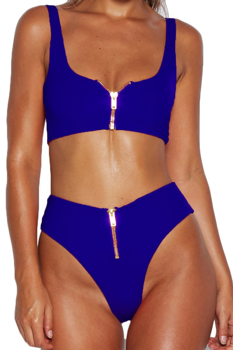 Meyeeka Womens Sexy Two Piece Swimsuit Sports Style Low Scoop Neck Crop Top Bikini Set S