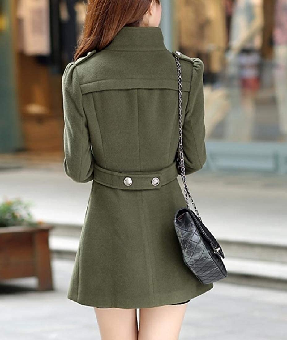 YUNY Womens Trench Coat Double-Breasted Peacoats Slim Fitted Jacket Army Green S