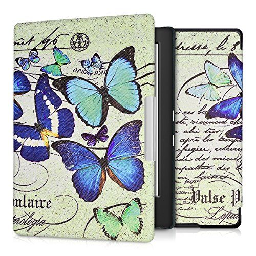 kwmobile Case Compatible with Kobo Aura H2O Edition 1 - PU e-Reader Cover - Vintage Butterflies Blue/Mint/Beige