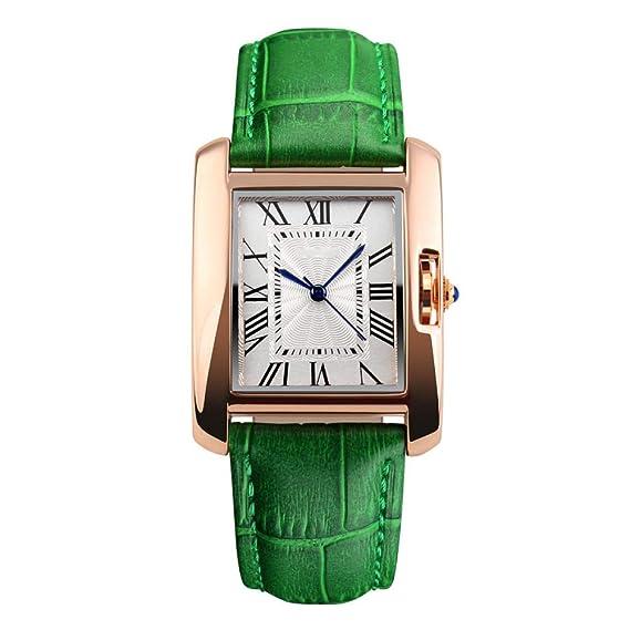 ALHM para Mujer Relojes analógicos Reloj de Pulsera de Cuarzo Reloj Casual de Negocios Reloj de Vestir único Cuadrado Dial Numeral Romano Correa Moda ...
