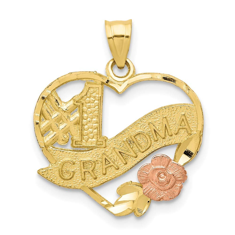 10K Two-Tone #1 Grandma Heart Charm