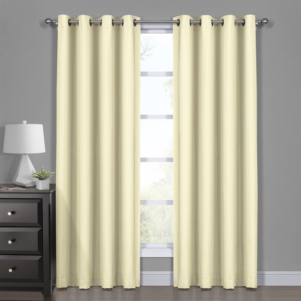 Diamond Ivory Curtains, Blackout Top Grommet, Jacquard Woven Diamond Window Panels, Pair / Set of 2 Panels, 54x108 inches Each, by Royal Hotel
