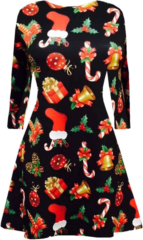 Femme femmes noël robe swing renne santa bonhomme de neige imprimé tailles uk 8-26