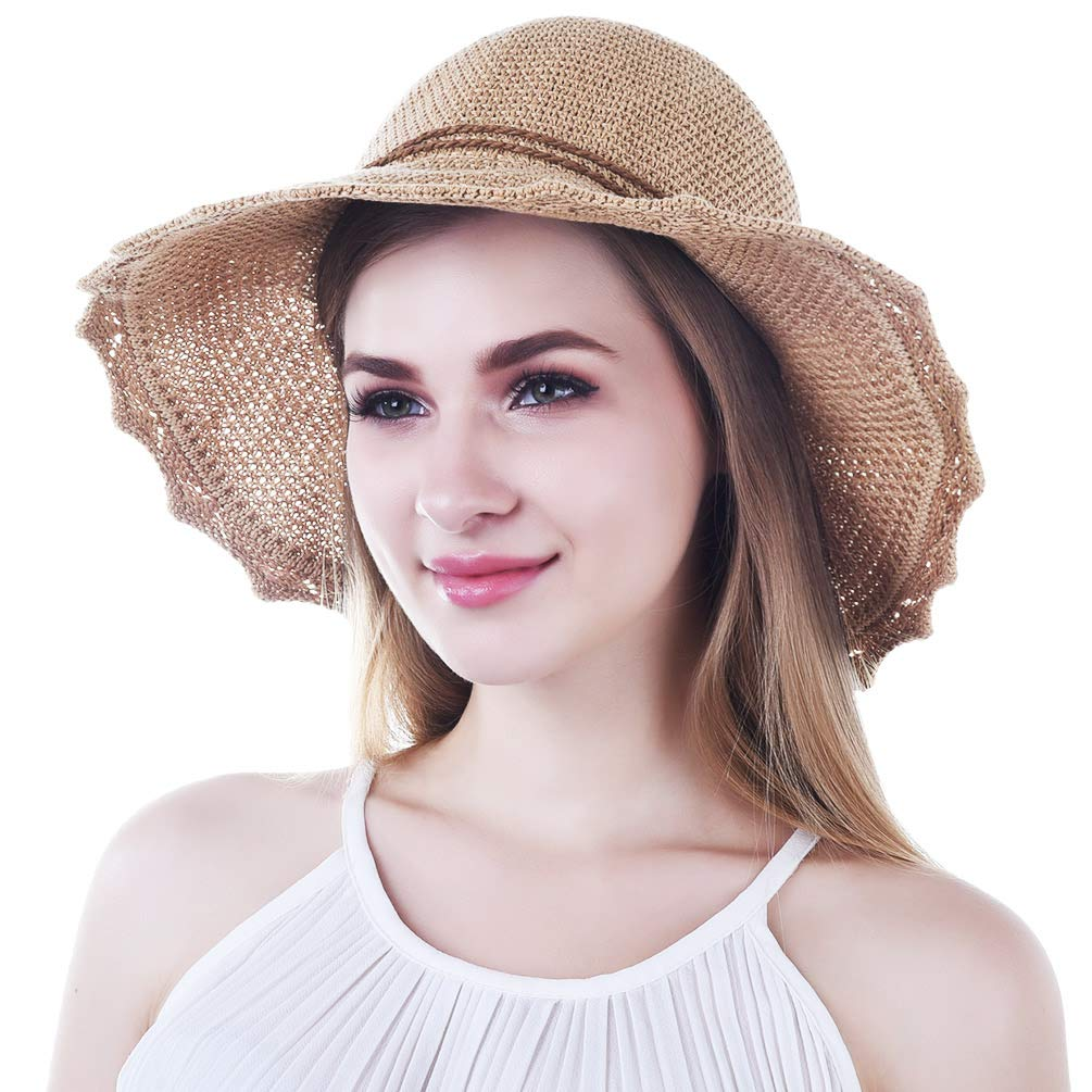 VBIGER Sonnenhut Damen Faltbarer Strohhut Damen Strandhut Damen mit schöner Schleife ...