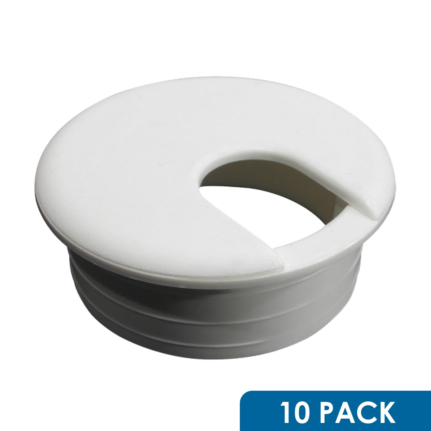 10 Pack Rok Hardware 3'' (76mm) Round Gray Computer Desk Table Port Wire Cable Organizer Hole Cover Grommet