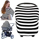 KeaBabies Nursing Cover For Baby Breastfeeding - Car Seat Canopy - All-In-1 Soft Breathable Stretchy Carseat Canopy - Infinity Nursing Cover Up For Girls, Boys (Bff Black)