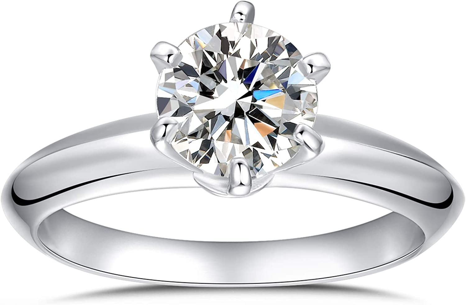 Platinum Plated Sterling Silver Round Cut 2ct Solitaire Engagement Ring 6 Prongs