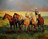 Real Hand Painted Western Cowboy with Horses Canvas Oil Painting for Home Wall Art Decoration, Not a Print/ Giclee/ Poster, FRAMED, Ready to Hang