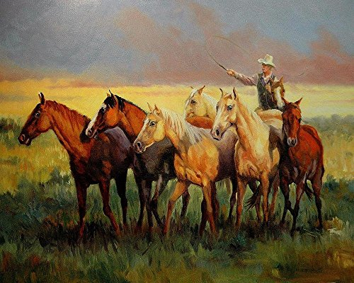 Real Hand Painted Western Cowboy with Horses Canvas Oil Painting for Home Wall Art Decoration, Not a Print/ Giclee/ Poster, FRAMED, Ready to Hang by Generic