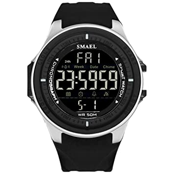 WULIFANG Reloj Digital Led Mens Sports Watch Automática Reloj Alarma Reloj Militar Impermeable Negro