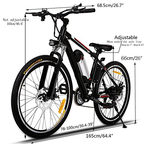 Electric Mountain Bike E Bicycle, E-bikes with Large Capacity Lithium-Ion Battery, Battery Charger, 250W 26-Inch Wheel (US STOCK) by eshion